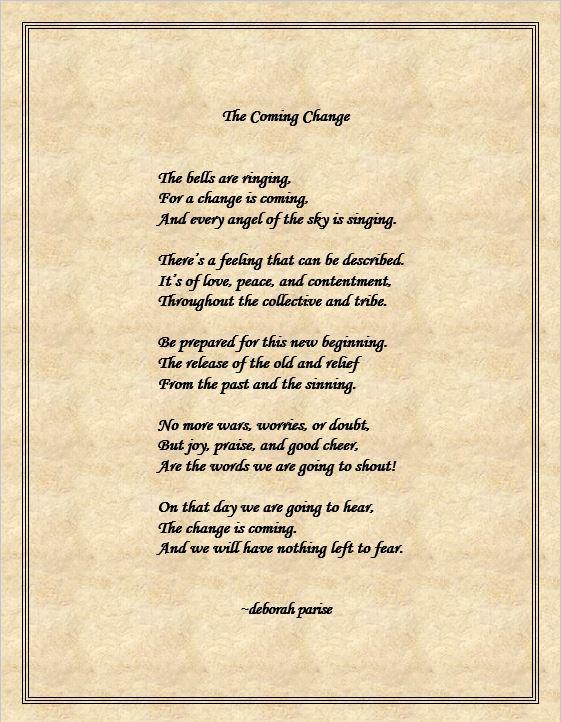 The Coming Change   deborah parise